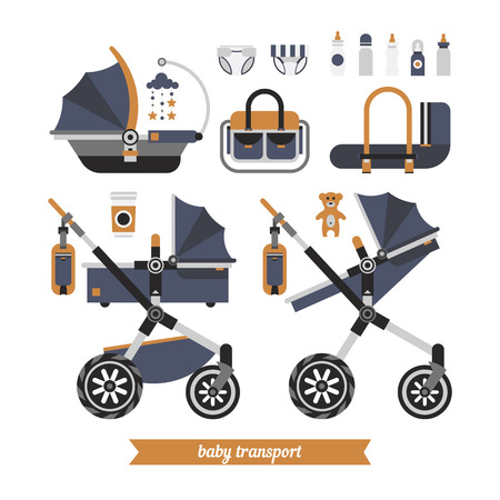 newborn baby mother: Baby stroller transformer. Vector baby stroller set. Newborn stuff for walking. Things you need to transport the child and walks with a newborn. Baby stroller three in one.