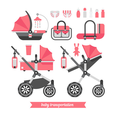 child care: Baby stroller transformer. Vector baby stroller set. Newborn stuff for walking. Things you need to transport the child and walks with a newborn. Baby stroller three in one.
