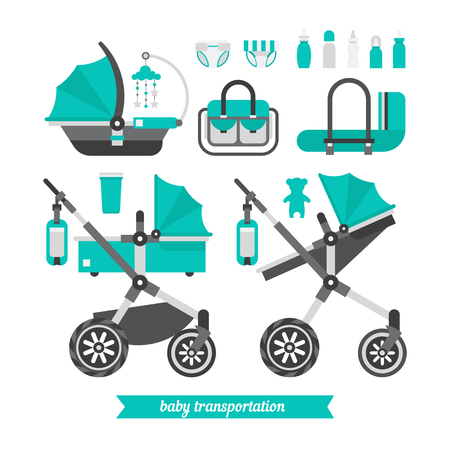 newborn baby mother: Walk with a newborn. Baby stroller transformer. Vector baby stroller set.  Newborn stuff for walking. Things you need to transport the child and walks with a newborn. Baby stroller three in one.