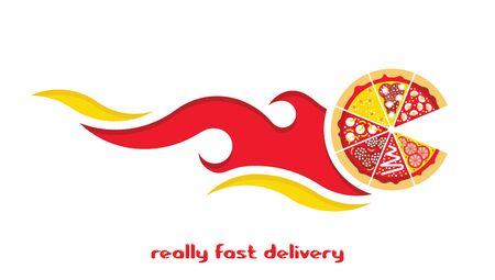 margherita: Flat pizza delivery. Illustration
