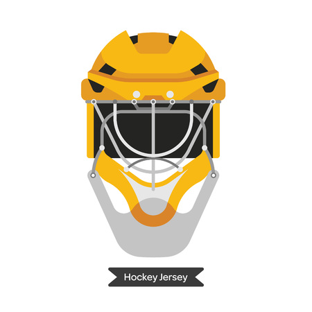 playoff: Vector hockey helmet. Isolated hockey helmet. Ice hockey sport equipment. Ice hockey helmet in flat style.