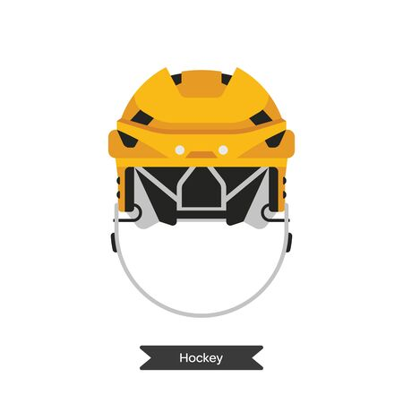 playoff: Vector hockey helmet. Isolated hockey helmet on white background. Ice hockey sports equipment.  Ice hockey helmet in flat style.