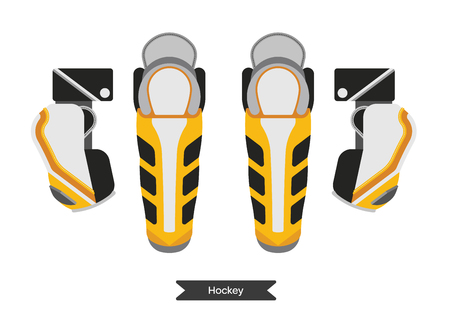 playoff: Vector hockey protection. Isolated hockey protective equipment on white background. Ice hockey sports equipment.  Protecting shins, knees and elbow pads in flat style. Illustration