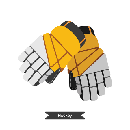 hockey equipment: Vector hockey gloves. Isolated hockey glovest on white background. Ice hockey sports equipment.  Ice hockey gloves in flat style.