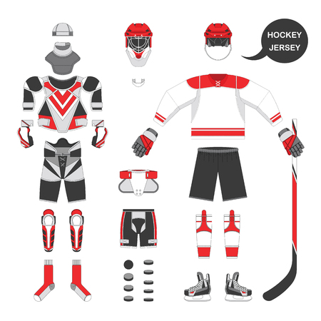Ice hockey sport equipment set. Vector ice hockey equipment in flat style. Isolated ice hockey equipment on white background. Ice hockey equipment template. Ilustrace