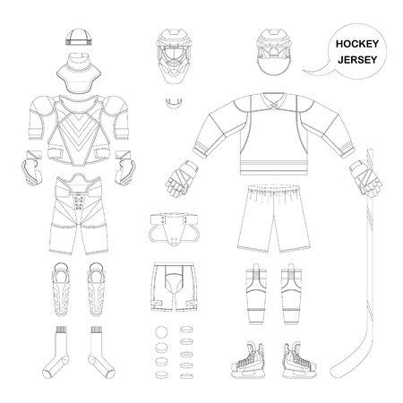 balaclava: Hockey sports form set. Vector hockey  sports form in flat style. Isolated hockey  sports form on white background. Hockey  sports form template.