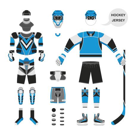 attribution: Hockey uniform set. Vector hockey uniform in flat style. Isolated hockey uniform on white background. Hockey uniform template. Hockey attribution clothes equipment and accessories.