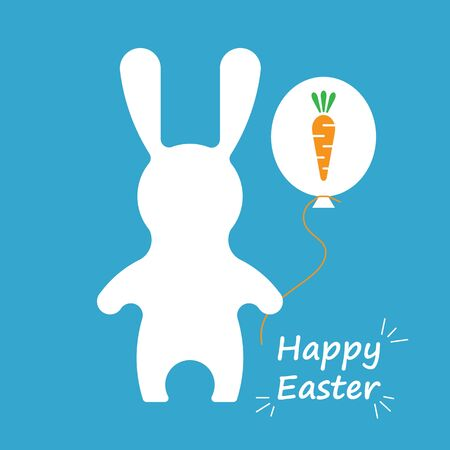vitamine: Vector Happy Easter card. Adorable vector Easter Rabbit esolated on white background.  Vector Easter Hare with ballon. Hare and carrot. Happy Easter illustration in flat style. Illustration