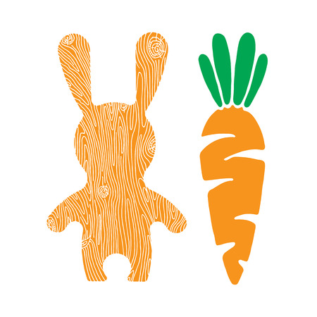 zanahoria caricatura: Vector ilustración de verduras. Vector de conejo y la zanahoria. conejito del vector. Bunny y zanahoria delicioso. iconos de estilo de dibujos animados conejito plana.