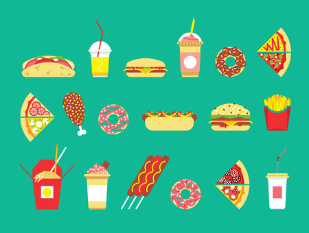 gıda: Fast food seti. Vektör fast food restoran. İzole fast food. Düz fast-food simgeleri ayarlayın. Vektör fast-food yılan. Odanızda abur cubur. Çizim