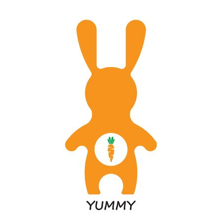 zanahoria caricatura: Vector ilustración de verduras. Vector de conejo y la zanahoria. Bunny y zanahoria delicioso. iconos de estilo de dibujos animados conejito plana. conejito divertido conejo de Pascua. Conejo de Pascua plana vector de conejo.