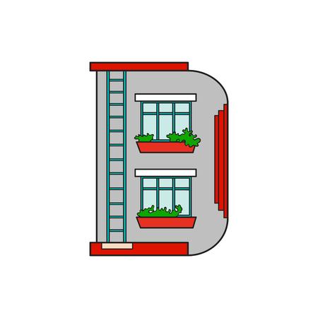 majuscule: Illustration house letter alphabet. Larning the alphabet and literally in kindergarten. Letter isolated. The letter D