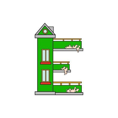 majuscule: Illustration house letter alphabet. Larning the alphabet and literally in kindergarten. Letter isolated. The letter E