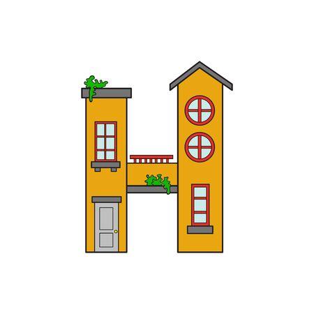 majuscule: Illustration house letter alphabet. Larning the alphabet and literally in kindergarten. Letter isolated. The letter H