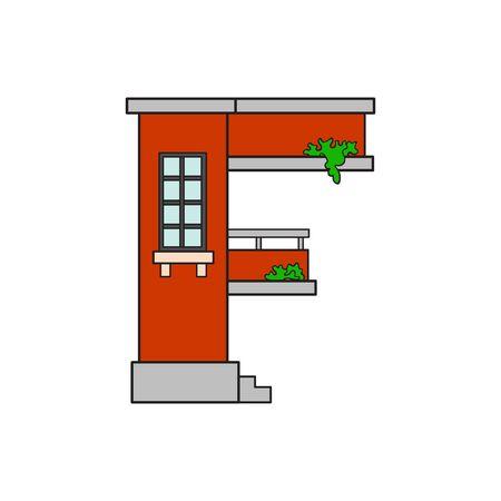 Illustration house letter alphabet. Larning the alphabet and literally in kindergarten. Letter isolated. The letter F Illustration