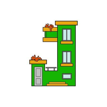 majuscule: Illustration house letter alphabet. Larning the alphabet and literally in kindergarten. Letter isolated. The letter J