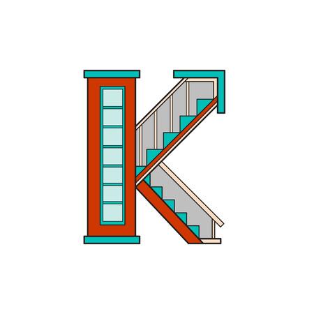 Illustration house letter alphabet. Larning the alphabet and literally in kindergarten. Letter isolated. The letter K