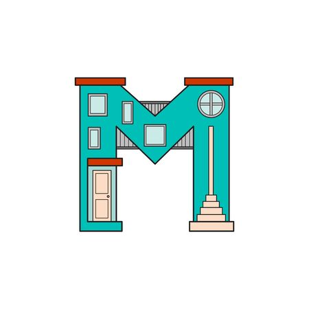 majuscule: Illustration house letter alphabet. Larning the alphabet and literally in kindergarten. Letter isolated. The letter M