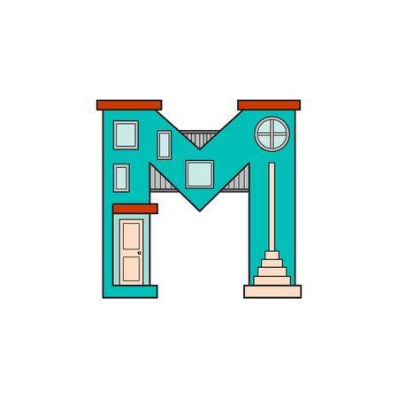 Illustration house letter alphabet. Larning the alphabet and literally in kindergarten. Letter isolated. The letter M
