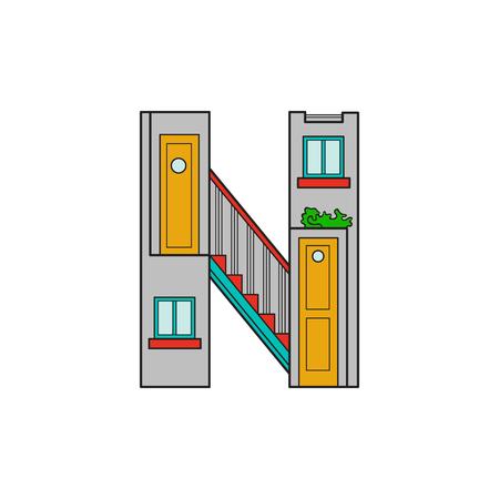 majuscule: Illustration house letter alphabet. Larning the alphabet and literally in kindergarten. Letter isolated. The letter N