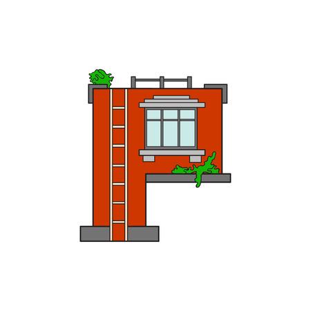Illustration house letter alphabet. Larning the alphabet and literally in kindergarten. Letter isolated. The letter P Illustration