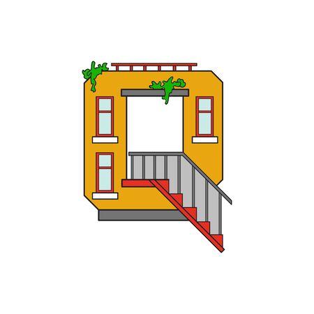 majuscule: Illustration house letter alphabet. Larning the alphabet and literally in kindergarten. Letter isolated. The letter Q