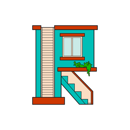 majuscule: Illustration house letter alphabet. Larning the alphabet and literally in kindergarten. Letter isolated. The letter R Illustration