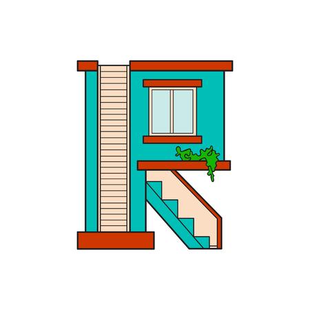 Illustration house letter alphabet. Larning the alphabet and literally in kindergarten. Letter isolated. The letter R Illustration
