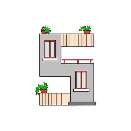 Illustration house letter alphabet. Larning the alphabet and literally in kindergarten. Letter isolated. The letter S