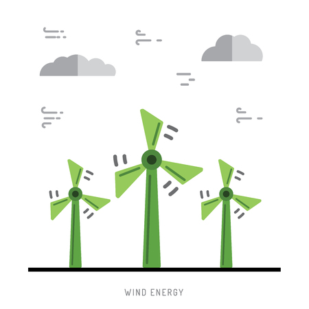 hydroelectric: Ecology power concept. New energy type. Alternative energy. Alternative wind energy station. New eco energy vector illustration. Ecology concept. Eco energy concept outline. Alternative energy type.