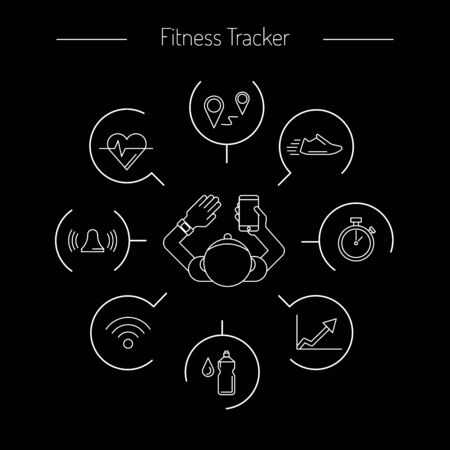 performed: Wearable electronics fitness tracker, gadget activity tracker bracelet that reads the state of the body, sports activities in the gym or outdoors. tracker infographics performed in a linear style