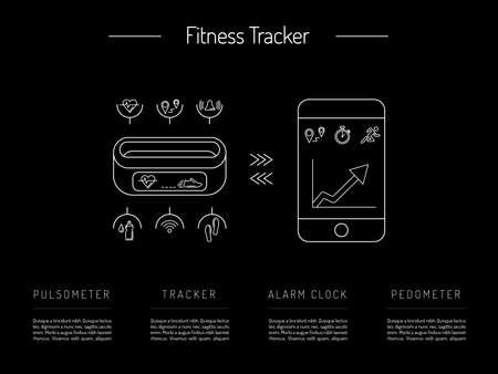 heart monitor: Illustration fitness bracelet. Fitness tracker with alarm function. Sync fitness tracker and smart phone. Fitness tracker with heart rate monitor function. Linear style. Illustration