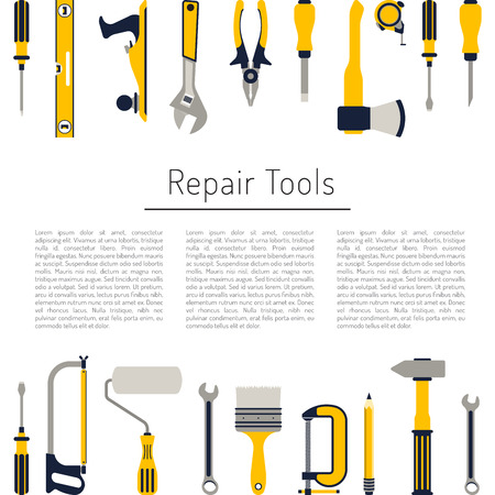Construction repair tools flat icon set. Tools like hammer, axe, ruler, hatchet home repair. Isolated tools flat set. Stock Illustratie