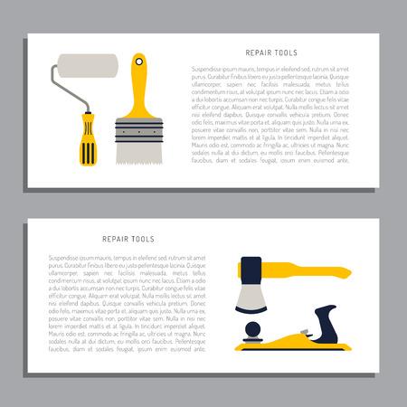 hatchet: Construction repair tools flat icon set. Tools like hammer, axe, ruler, hatchet home repair. Isolated tools flat set. Illustration