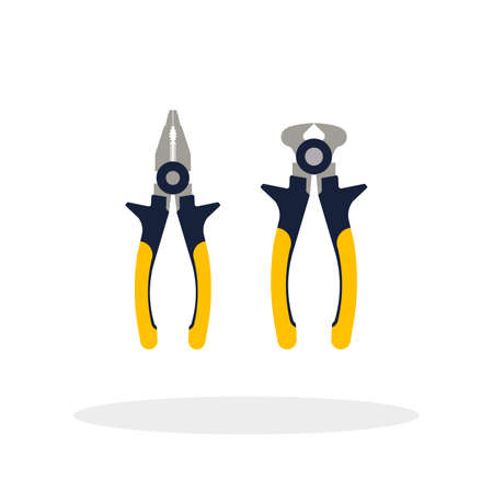 clamps: Do it yourself, construction repair tools flat. Tools like wire cutters, pliers hatchet home repair. Isolated tools flat.  DIY tools.