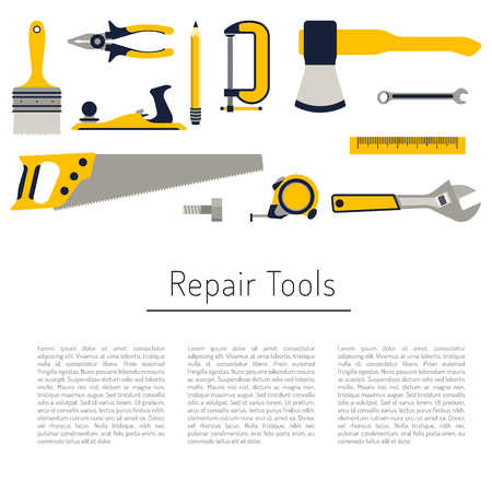 tool: Construction repair tools flat icon set. Tools like hammer, axe, ruler, hatchet home repair. Isolated tools flat set. Illustration
