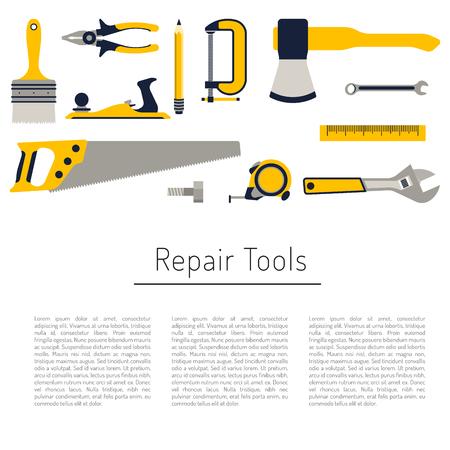 herramientas de reparación de la construcción Conjunto del icono plana. Las herramientas como martillo, hacha, regla, reparaciones en el hogar hacha. Herramientas aisladas establecer plano.