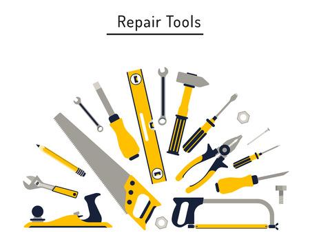 건설 및 수리 도구는 평면 아이콘을 설정합니다. 망치, 도끼, 눈금자, 도끼 집 수리 등의 도구. 격리 된 도구 평면을 설정합니다.