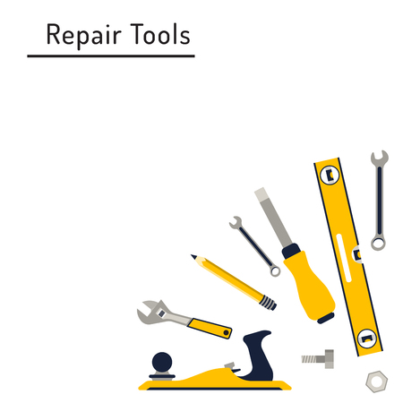 work home: Construction repair tools flat icon set. Tools like hammer, axe, ruler, hatchet home repair. Isolated tools flat set. Illustration