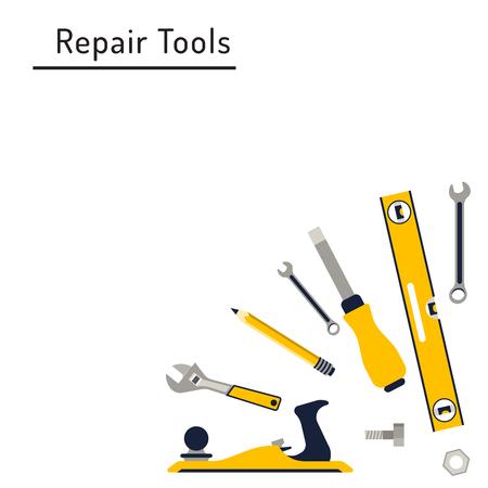 trabajando en casa: herramientas de reparación de la construcción Conjunto del icono plana. Las herramientas como martillo, hacha, regla, reparaciones en el hogar hacha. Herramientas aisladas establecer plano. Vectores