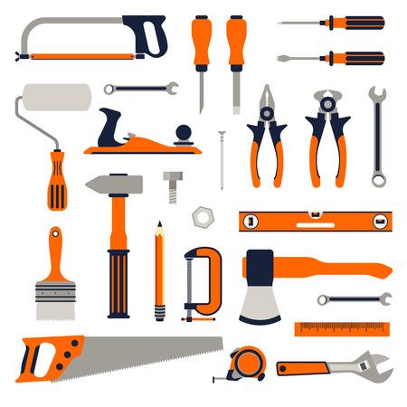 Construction repair tools flat icon set. tools home repair set. Isolated tools flat set.