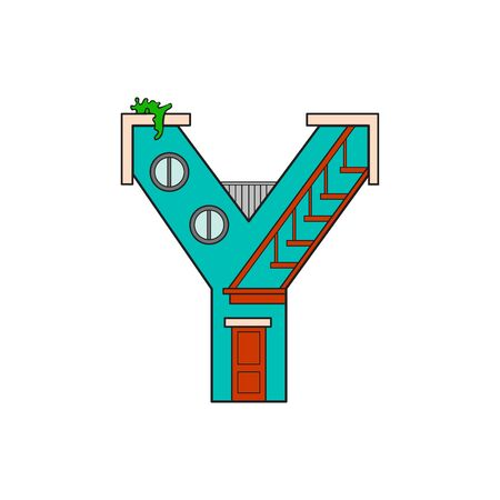 majuscule: vector illustration letter of the alphabet drawn in the form of a house. The letters of the alphabet to teach children reading. Illustration
