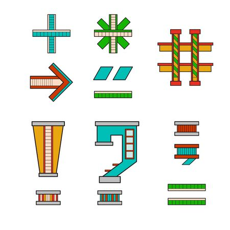 majuscule: vector illustration symbols and signs for alphabet drawn in the form of a house. The letters of the alphabet to teach children reading.
