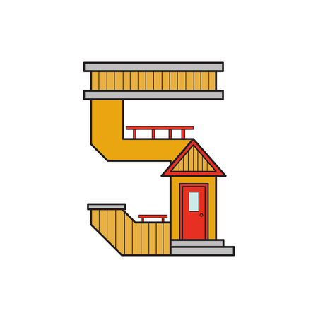 rune: vector illustration letter of the alphabet drawn in the form of a house. The letters of the alphabet to teach children reading. Illustration