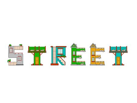 majuscule: Illustration house letter alphabet. Larning the alphabet and literally in kindergarten. Letter isolated.