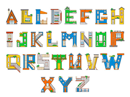 majuscule: Illustration house letter alphabet. Larning the alphabet and literally in kindergarten. Letter isolated.