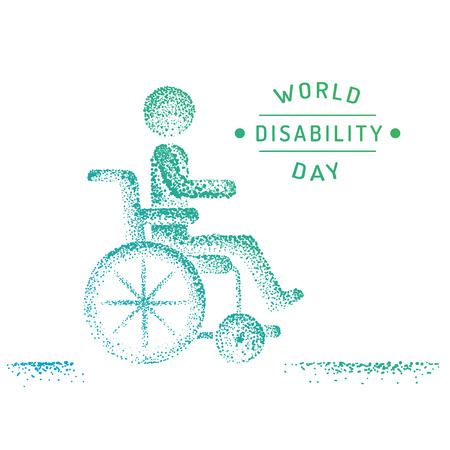 atrophy: Man in wheelchair silhouette. World day for the disabled logo, icon, drawn by points. Illustration