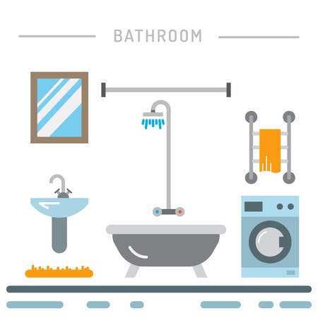 bidet: Elements for bathroom interior. Bathroom interior vector. Illustration