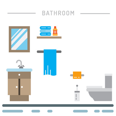 Elements for bathroom interior. Bathroom interior vector. Ilustração
