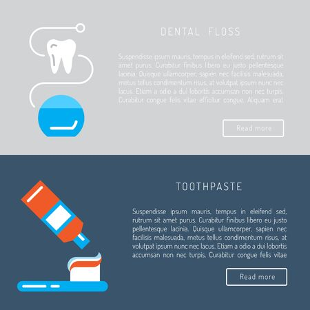 oral hygiene: The items used for oral hygiene. Teeth cleaning icons outline set. Illustration